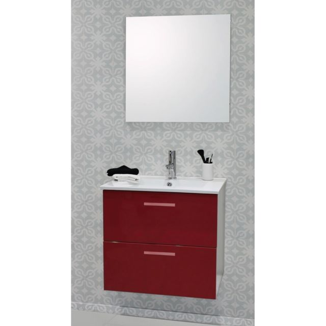 Caisson de meuble de salle de bain modulable Malea 60cm rouge + spot ...