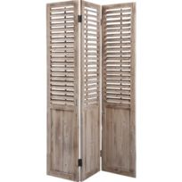 Pegane - Paravent en bois vieilli avec Persiennes mobiles de 3 panneaux