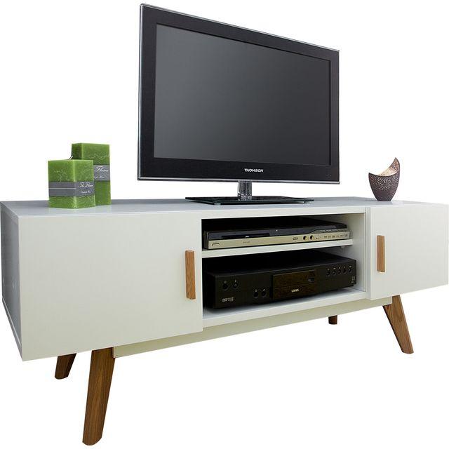 Comforium Meuble tv design en mdf coloris blanc laqué
