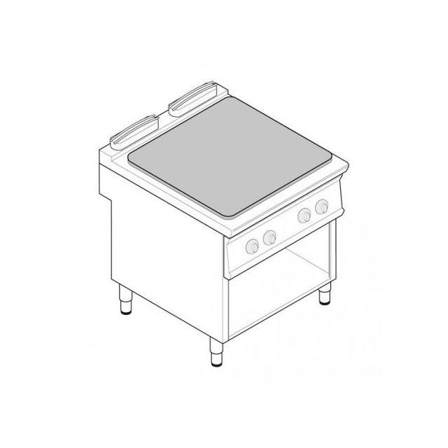 Materiel Chr Pro Plaque électrique de mijotage double sur placard ouvert - 4 plaques - gamme 900 - module 400 - Tecnoinox - 900