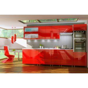 dusine cuisine rouge laqu e infinity 9 colonne 3m pas cher achat vente cuisine compl te. Black Bedroom Furniture Sets. Home Design Ideas