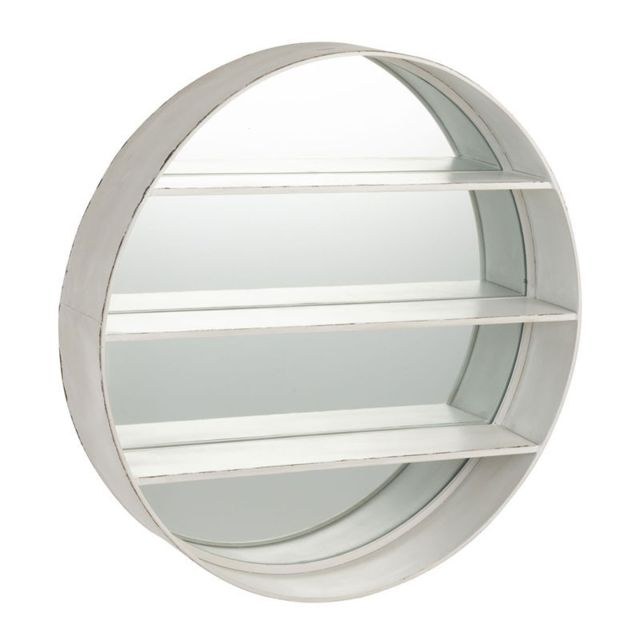 Tousmesmeubles Miroir rond Bois blanc - Sunicho