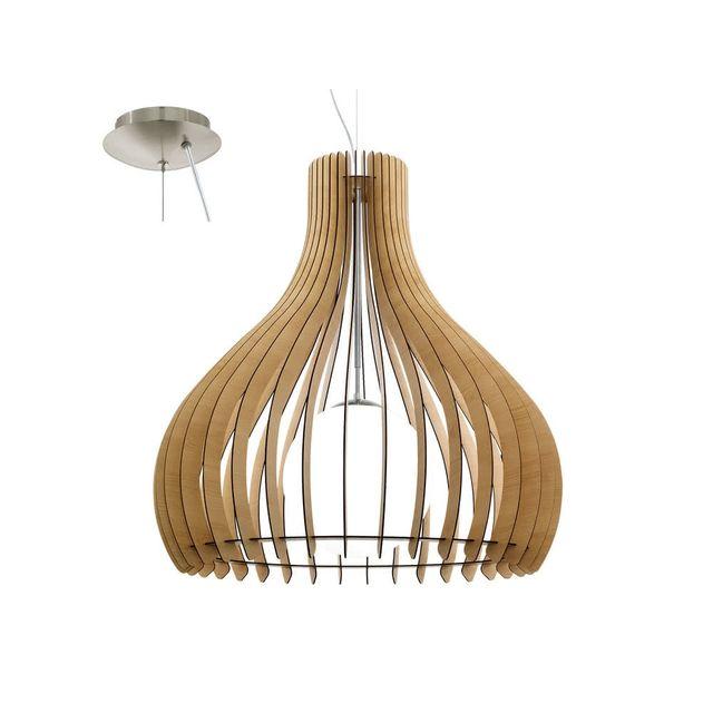 Eglo - Suspension en bois et verre diamètre 50cm Tindori - Bois naturel