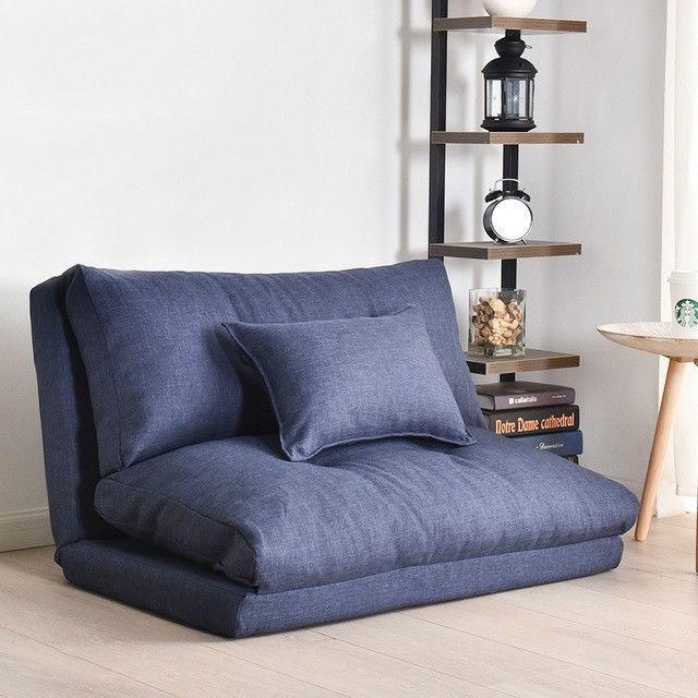 Wewoo Fauteuil Canapé-lit double polyvalent pliant par chambre à coucher à 90cm bleu foncé