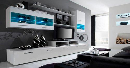 Comfort Home Innovation - Meuble de télévision, Meuble de Salon moderne avec Leds, Blanc Mate et Blanc Laqué, Dimensions : 250x1