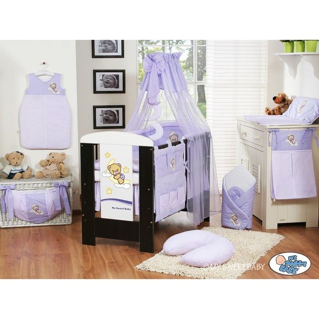 marque generique parure de lit b b bonne nuit violet ciel de lit mousseline avec top coton. Black Bedroom Furniture Sets. Home Design Ideas