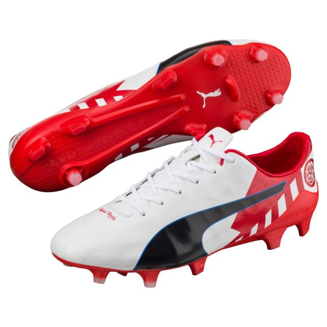 sports shoes 9f201 bac80 Puma - Chaussures EvoSpeed 17 Derby Fever blanc rouge - pas cher Achat    Vente Chaussures foot - RueDuCommerce