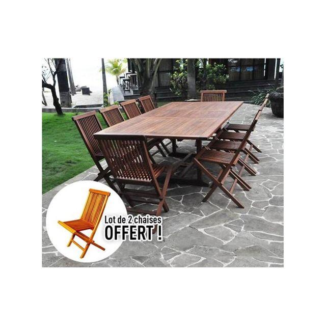 rocambolesk magnifique salon de jardin teck 39 huil 39 10 12 pers 10 chaises table rect. Black Bedroom Furniture Sets. Home Design Ideas
