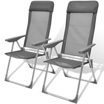 Rocambolesk - Superbe Jeu de 02 Chaises de camping pliable ajustable en aluminium Neuf