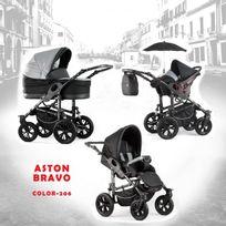Autre - Poussette trio Aston Bravo noir gris foncé châssis silver roue alpha black