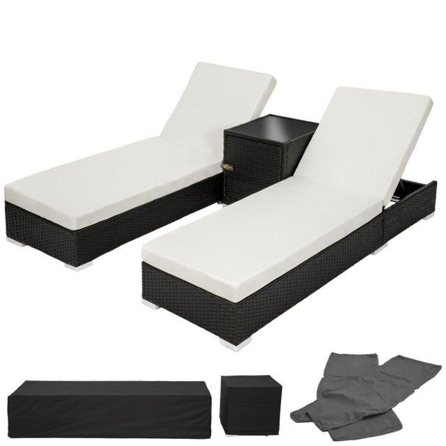 Helloshop26 Lot de deux chaises longue bain de soleil en résine tressé poly rotin noir + table + deux set de housses + housse de pro