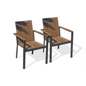Dcb Garden - Lot de 2 fauteuils aluminium gris anthracite et bois ...