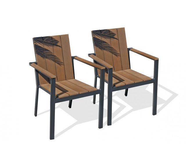 Dcb Garden Lot de 2 fauteuils aluminium gris anthracite et bois composite