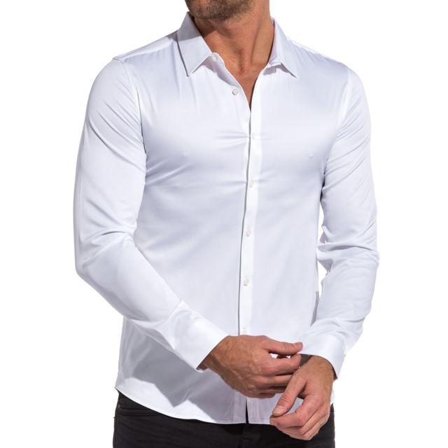 6433c46583a38 BLZ Jeans - Chemise homme blanche luisante chic - pas cher Achat ...