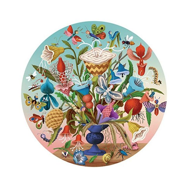 Eeboo Crazy Bug Bouquet Round Jigsaw Puzzle for Adults 500 Pieces
