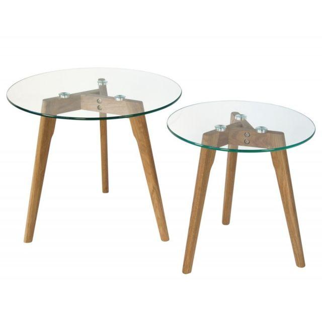 Autre Set de deux tables basses plateau en verre pied en bois Taba06006
