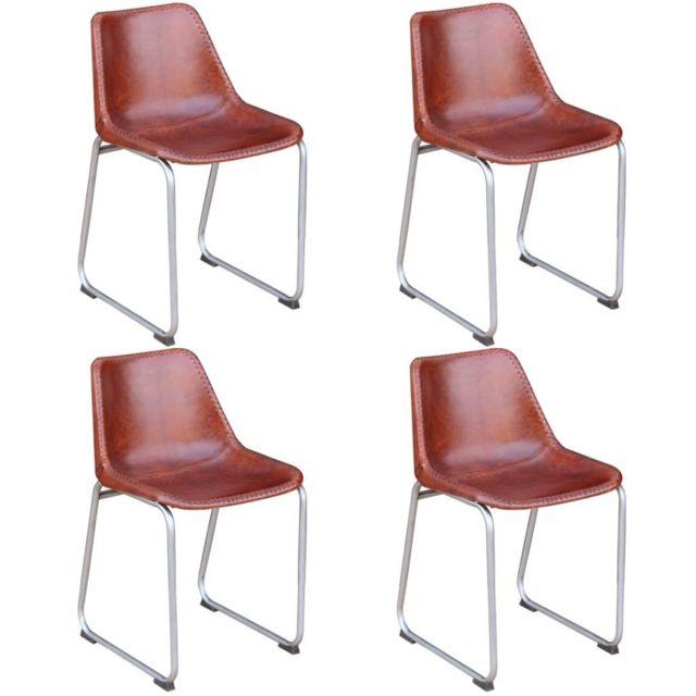 Sans Marque 4 chaises de salle à manger Cuir véritable Marron