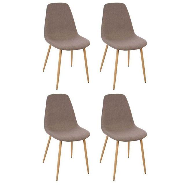 """Paris Prix - Lot de 4 Chaises Design """"Roka"""" 87cm Taupe"""
