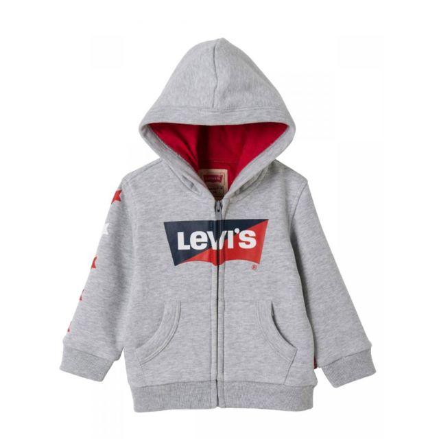 Levi'S Sweat gris à capuche zippé bébé garçon pas cher