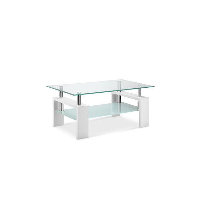 Table basse double plateau verre décor blanc - Kimmy