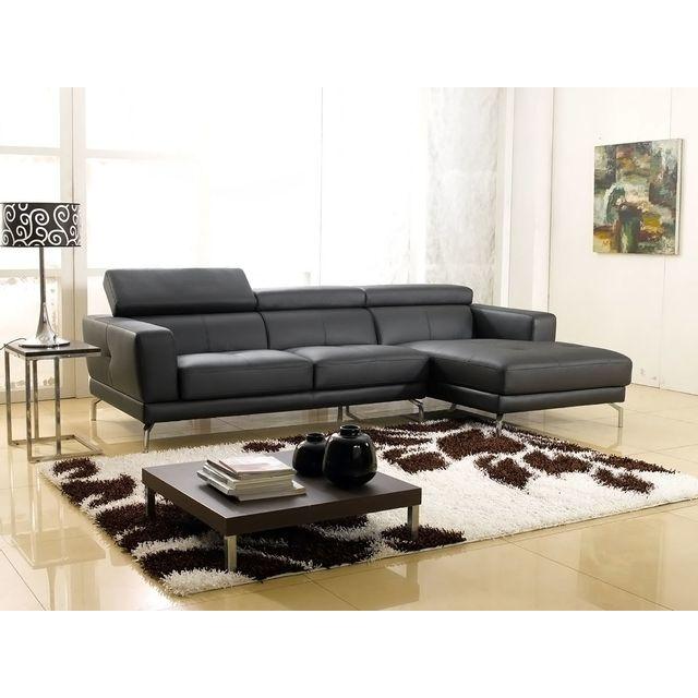 la maison du canap canap cuir angle oslo droit noir 169cm x 271cm x 92cm droite achat. Black Bedroom Furniture Sets. Home Design Ideas