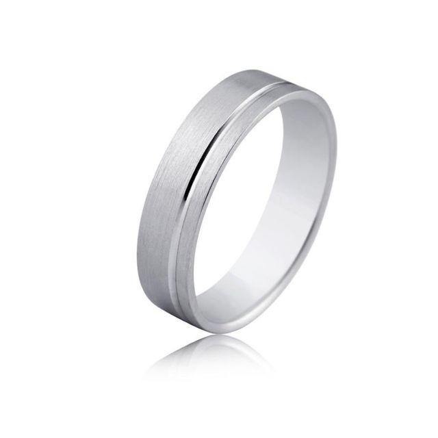 57116a9112160 Tousmesbijoux - Alliance de design fantaisie or blanc 18 carats de 5 mm de  large mate