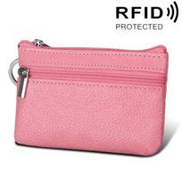 Porte Carte Protection sans contact Anti Rfid rose Cuir de vachette Zipper  Couleur unie Porte- d1a27f02cff