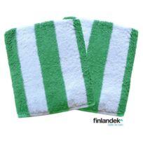 Finlandek - Bain - Finlandek Lot de 2 serviettes de toilette 50x100 cm rayées vert