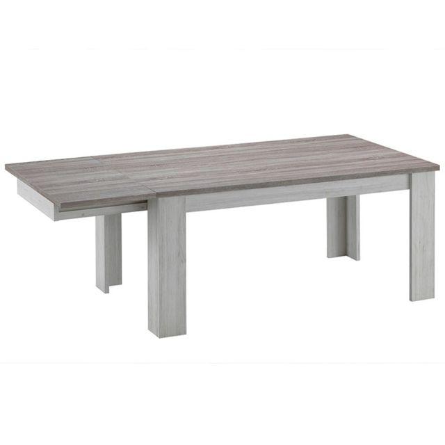 Nouvomeuble Table avec rallonge couleur chêne clair et marron Emy
