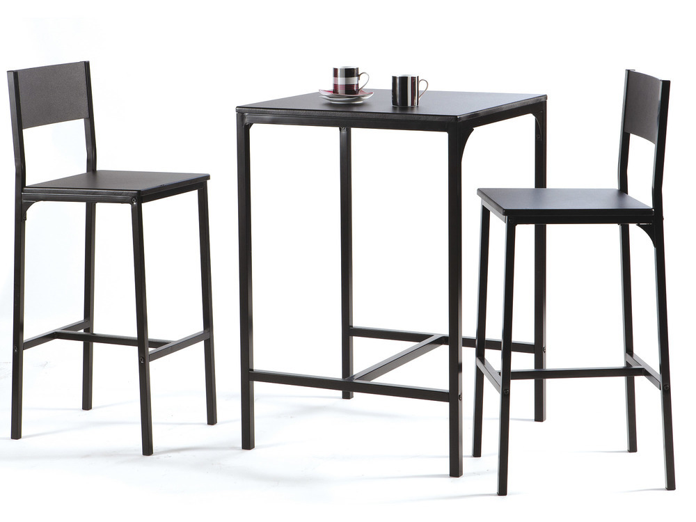 Table de bar L60xP60xH87cm + 2 tabourets Mdf/métal noir Magda