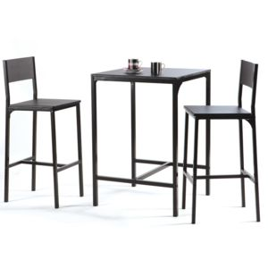 Marque Generique Table De Bar L60xp60xh87cm 2 Tabourets Mdf Métal Noir Magda