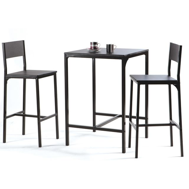 Table De Bar Noir.Table De Bar L60cm 2 Tabourets Bois Metal Noir Magda