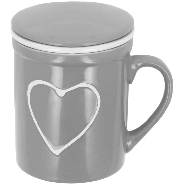 promobo mug infuseur tasse tisani re avec filtre et couvercle tag coeur relief gris pas cher. Black Bedroom Furniture Sets. Home Design Ideas