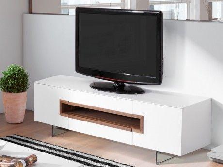 Marque Generique Meuble Tv Elvira - 2 portes & 2 tiroirs - Mdf & Verre trempé