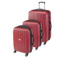 CARREFOUR - Lot de 3 valises rigides - 4 roues - ABS et PC - Rouge