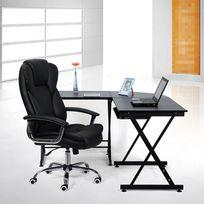 Rocambolesk - Superbe Chaise Fauteuil de bureau noir Chaise pour ordinateur hauteur réglable simili cuir Obg57B neuf