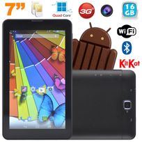 Yonis - Tablette tactile 3G Quad Core 7 pouces Dual Sim Android 4.4 Noir 16Go