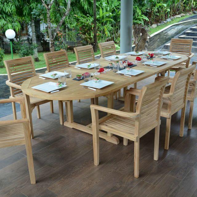 Teck\'ATTITUDE - Salon de jardin en teck qualité Ecograde Venise, 10 ...