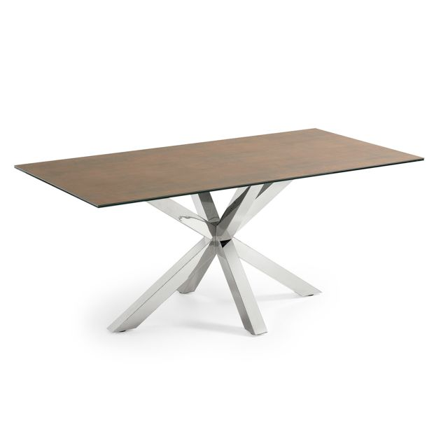 Kavehome Table Argo 180x100 cm, Inox Porcelanique Iron Corten