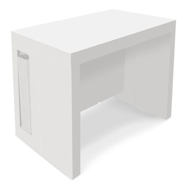 7c631b69f975ba Table Console extensible Loki Blanc laqué - 12 personnes - pas cher Achat   Vente  Tables à manger - RueDuCommerce