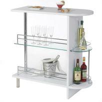 Idimex - Table haute de bar James Mdf décor blanc