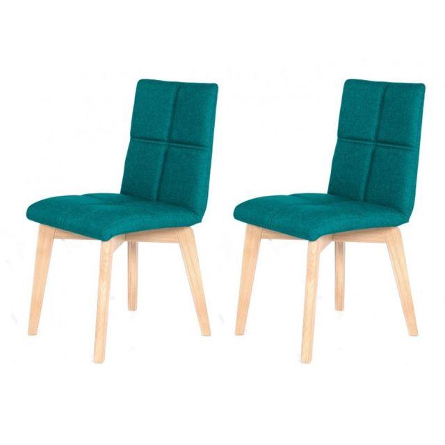 Meubletmoi Lot 2 Chaise scandinave tissu bleu turquoise - Lea