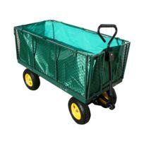 Varanmotors - Chariot de jardin Xxl , remorque à main, avec bâche, cotés amovibles, Max 600Kg