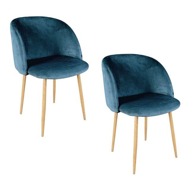 Zons - lot 2 chaises salle a manger En Velours 55.5x60xH83cm Bleu
