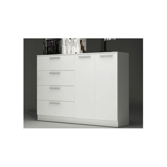 Vente-unique Buffet Mathias - Blanc - 4 tiroirs et 1 placard