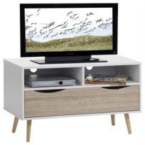 IDIMEX - Meuble TV GENOVA banc télévision design avec 1 tiroir et 2 niches mélaminé blanc mat et décor chêne sonoma