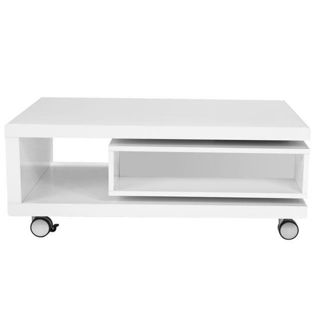 Miliboo Table basse design laquée blanche Livo
