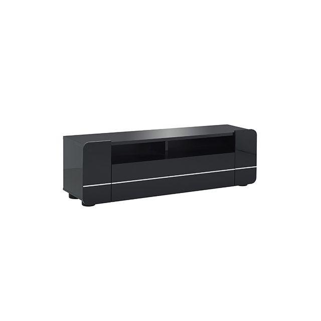 Meuble télé 1 abattant 1 niche L154xH48xP39cm - noir