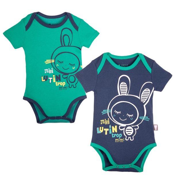 Soldes Petit Beguin - Lot de 2 bodies manches courtes bébé garçon Smallcity  - Couleur - Vert e5f03079ec1