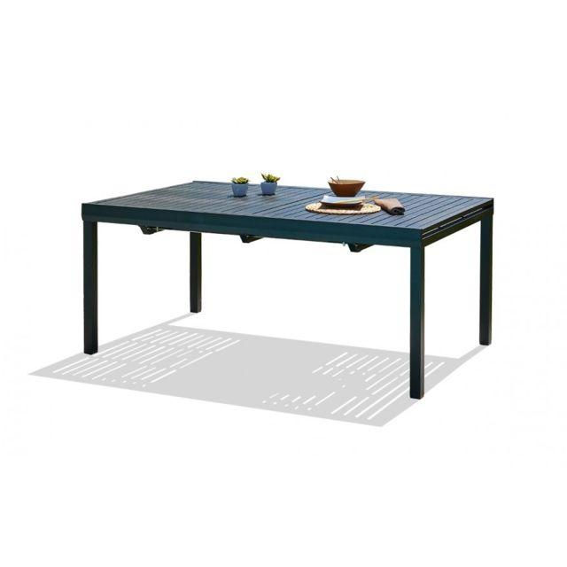 Table aluminium noir 240/300 cm avec rallonge